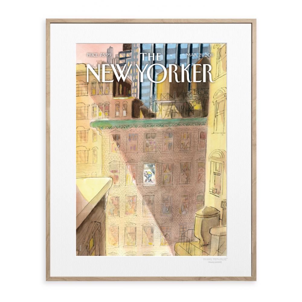 affiche the new yorker sempe on his way. Black Bedroom Furniture Sets. Home Design Ideas