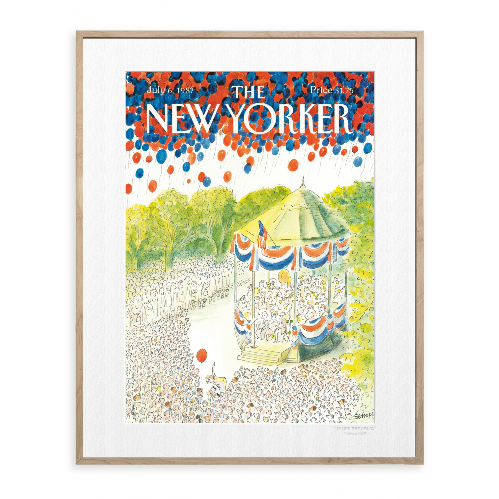 the new yorker poster sempe 4 th of july kiosque. Black Bedroom Furniture Sets. Home Design Ideas