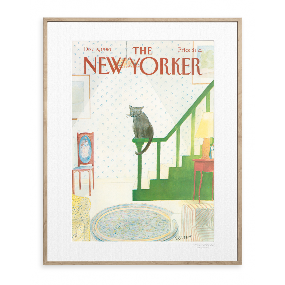 affiche the new yorker 117 sempe cat sits on the edge. Black Bedroom Furniture Sets. Home Design Ideas